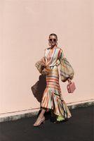 Frauen Sommer Designer zweiteiliger Kleid-Rundhalsausschnitt Langarm-Regenbogen-Streifen-Kleid Zweiteiler