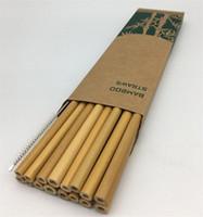 Útil bambú pajas de beber del partido reutilizable Cocina + Cepillo limpio 13pcs / set de cocina útil herramienta 2 colores 4928