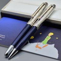 고품질 쁘띠 왕자 블루 롤러볼 볼펜 펜 편지지 오피스 학교 귀여운 조각 금속 수지 쓰기 잉크 선물 펜