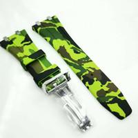 26mm / 18mm Camuflaje Verde de lujo de alta calidad Caucho 18mm Corchete Corchete 4 Conector 4 Tornillo 2 Enlace para AP Royal Oak 15400 15300