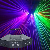 6 عدسة DMX 512 rgb كامل اللون مسح المرحلة الليزر الإضاءة ستة عيون 16 أنماط الليزر شعاع ضوء المنزل حزب dj ديسكو الليزر العارض مصباح