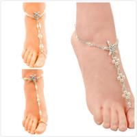 Bijoux de mariage sur la plage, perles élastiques blanches en étoile de mer, chaîne de cheville, accessoires de mariage, chaîne de pieds, sandales aux pieds nus