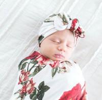 Fleur Swaddle avec le lapin Chapeau Nursery Couverture Bébé Cadeaux Voyage Sleeper Nouveau-né Wrap expédition meilleur cadeau gratuit