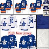 York Islanders Hockey Trikots Männer # 91 John Tavares 16 Mitch Marner 34 Auston Matthews Nähte Jersey Günstige Verkäufe