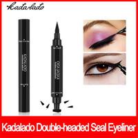 Delineador de ojos maquillaje de ojos Kadalado de mariposa del sello grueso fino líquido de ojos a prueba de agua Moda Vamp Liner delineador doble junta