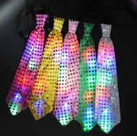 Erkek Kadınlar Cheer Prop beslemeler için Işık Up LED Bow Parlak Pullu Boyun Kravatlar Değiştirilebilir Renkler Kravat Led Fiber Tie Yanıp sönen Tie