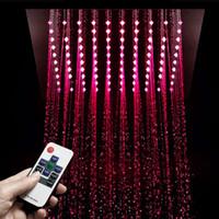 Luxury LED Light Shower heads 304 Stainless Steel 30*30cm Square Showerhead Rain Bathroom Showers Electricity Power Lights