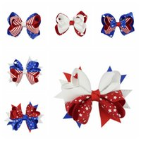 Hair Hairpin American Flag Hair Bow With Clip 4th Of July Ch...