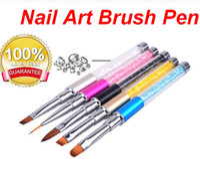 Nail Art Pinsel Stift Strass Diamant Metall Acryl Griff Carving Pulver Malerei Gel Pinsel Liquid Salon Liner Nagelbürste