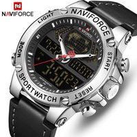 Naviforce Top Marque Mens Sport Montres Hommes Cuir Watch Quartz Quartz Militaire Militaire Analogue Numérique Relogio Masculino