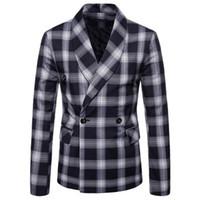 Mens neue Ankunfts-heiße Verkaufs-Geschäft Blazer beiläufiger Plaid Blazer Lattice Formal Jacke zweireihiges Mal Kleid Sakkos