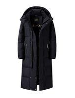 Abrigos de invierno extra largos Chaqueta de plumón para hombre con capucha Pato blanco Down Parkas Espesamiento Abrigo cálido Ropa de abrigo Ropa de nieve Longitud de la rodilla Tallas grandes