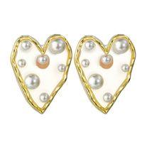 Мода Прозрачный Большое сердце серьги Имитация Pearl Коты Свадеб серьги для женщин Женский Vintage себе подарок ювелирных изделий