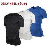 Распродажа только $ 6,99 Мужчины с коротким рукавом Запуск футболки Мужчины Упругие Compression Gym рубашка Фитнес Tight Tops Quick Dry Спорт