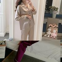 MISSKY 2PCS / Set Mulheres Conjuntos De Pijama Sleep Wear Cor Sólida Lapela Imitação De Seda De Manga Longa Casa Desgaste