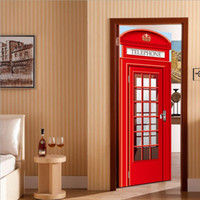 Self- adhesive 3D Door Wall Fridge Sticker Telephone Booth Wr...