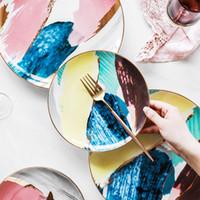 LEKOCH Platos de Cerámica Acuarela Nube 8/10 pulgadas Platos de Cena Porcelana Torta Snack Plato Servicio de Postres Set