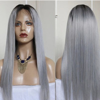 Ombre Color Wig 1B Grey Full Lace Human Hair Wig 130% Densit...