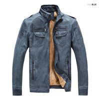 Herren PU Lederjacken Winter Warm Zipper Design Biker Jacktes Mäntel Vintage Slim Streetwear Washed Jacken M-4XL