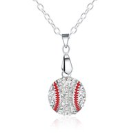 Fashion Designer Baseball Pendant Necklaces Rhinestone Stain...