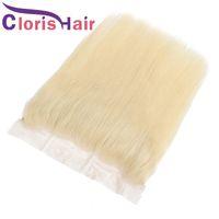 Blonde Silk Straight Full Frontals Top Closure Brazilian Virgin Human Hair Platinum Blonde 13x4 Lace Frontal Closure Pre Plucked 613 Closure