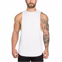 Canotta sportiva Bodybuilding Canotta Tees Uomo Fitness Canotta senza maniche Camicia in cotone solido Canotta muscolare