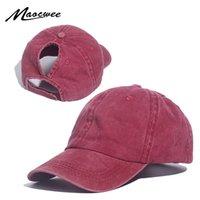 Kadınlar İçin At Kuyruğu Beyzbol şapkası Dağınık Bun Şapka Pamuk Snapback Casual Yaz Güneşlik Kadın Açık Spor Şapka T200611 Caps Yıkanmış