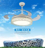 Белый потолочные вентиляторы свет 42-дюймовый светодиодный пульт дистанционного управления потолочный вентилятор лампа используется для спальни гостиная лампа 110-220V бесплатная доставка