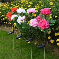 FS Wodoodporna Słoneczna Piwonia Piwonia Kwiat Lampa Lampa Krajobraz Dekoracja Outdoor Garden Yard Lawn White Light