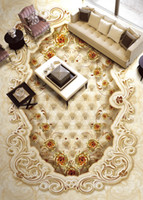 High-end luxury noble golden home improvement rose stone pattern parquet 3D floor tile PVC Wall Paper Self-adhesive Floor Mural