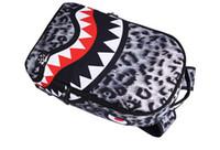 Designer-New trendy Leopard mulheres senhora sacos mochila Tubarão dentes escola mochila poliéster designer mochila com bolso com zíper