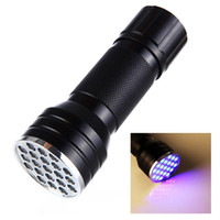 21LED UV lampe de poche lampe de poche ultraviolette conduit Ultra Violet Invisible Ink Marker Détection lampe torche lampe UV ZZA2399