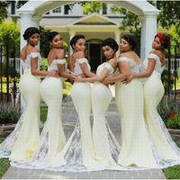 Sereia sexy longos vestidos da dama personalizado Honra da empregada doméstica do casamento de Clientes vestidos baratos Vintage Lace apliques 2019