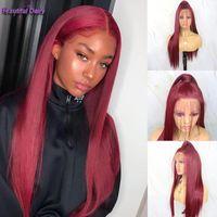 Schöne Tagebuch lange gerade Spitze-Front-Perücken Rote Farbe Perücke Glueless Hitzebeständige Faser Haar Futura Synthetic Lace Front Perücken