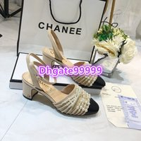 high end women girls mule slingback pearl chain patchwork mi...