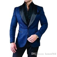 Cheap And Fine Embossing Groomsmen Shawl Lapel Groom Tuxedos Men Suits Wedding Prom Dinner Best Man Blazer(Jacket+Pants+Tie) 225