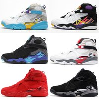 Jumpman 8 8s Men Shoes Valentines Day Aqua White Black Chrom...
