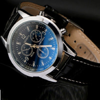 Unisex Business Mens Watches Blue- ray Glass Leather Men Quar...