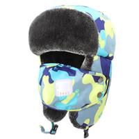 18 الألوان الشتوية الفرقة قبعة مع الأذن أدفأ تزلج قناع Ushanka روسيا نمط الصيد كاب منفذها مع حزام الذقن VT0535