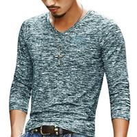 Erkekler Rasgele T Gömlek Uzun Kollu Tişörtler Gömlek Erkek Giyim Moda V Yaka Tişört Undetshirts 3XL büyük boyutlu Tops