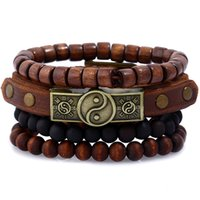 Taichi Believe Multilayer Feather Wooden Beads Wrap Woven Ge...