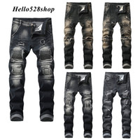 Hello528shop Classico Uomo Slim Hole Nostalgic Jeans da uomo Straight Fit Distressed Ripped Bike Pantaloni Full Length