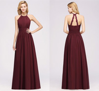 Hot Sell Burgundy Bridesmaids Dresses Plus Size A Line Halte...