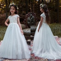 Charming White Lace Tulle A- line Flower Girl Dress Wedding P...