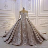 Бальное платье Роскошные кружева аппликация арабский свадебное платье Дубай Шампанское с длинными рукавами платье Vintgae Люкс
