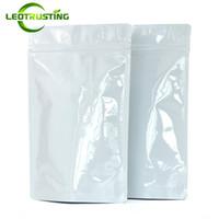 Leotrusting 50 adet / grup Kalın Stand up Parlak Beyaz Alüminyum Folyo Kilitli Torba Doypack Beyaz Folyo Şeker Şeker Kahve Hediye Koku Geçirmez Torbalar