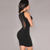 Sexy ver a través de los vestidos de las mujeres de la bodycon de verano sin mangas Malla playa mujeres poliéster negro noche fiesta club mini vestido Vestidos