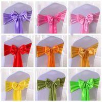 Elastic Stuhl-Band-Abdeckungen Schärpen für Hochzeitsfest Bowknot Tie Stuhl Schärpen Hotel Meeting Wedding Banquet Supplies 12 Farbe YSY363-L