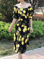2020 مصمم حورية البحر مثير الصيف الليمون زهرة طباعة خمر سيدة اللباس ريترو الرقبة ساحة شارع الأزياء ميدي ستريت اللباس الفساتين النسائية