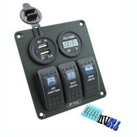 Priz ile 3 Gang Rocker Anahtarı Paneli 3.1A Çift USB Kablolama Kitleri DC12V / 24 V için Deniz Tekne Araba Rv Araçlar Kamyon Mavi led
